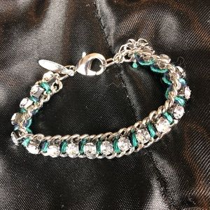 Navy & Teal Woven with Stones and Chain Bracelet